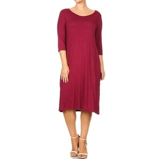 Women's Plus Size Side Button Line Solid Dress
