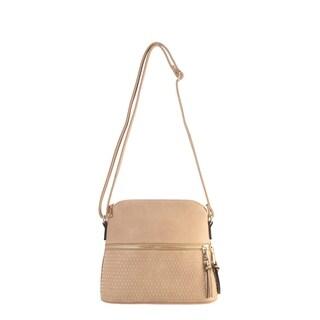 Diophy PU Leather Golden Beads Décor Front Zipper Pocket with Tassels Cross Body Handbag