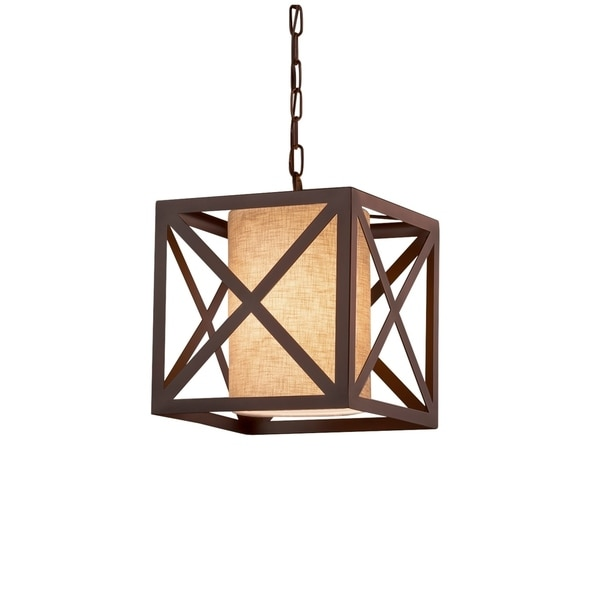 Justice Design Group Textile Hexa 1-light Dark Bronze Pendant, Cream Shade
