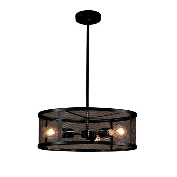 Justice Design Group Wire Mesh Wire Mesh 3-light Matte Black Pendant