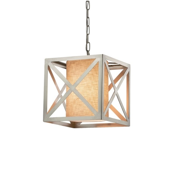 Justice Design Group Textile Hexa 1-light Brushed Nickel Pendant, Cream Shade