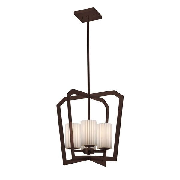 Justice Design Group Limoges Aria 4-light Dark Bronze Chandelier, Pleats Cylinder - Flat Rim Shade