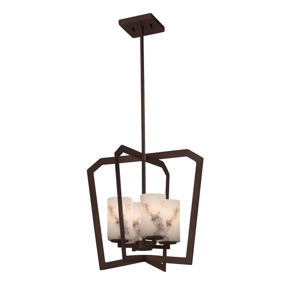 Justice Design Group LumenAria Aria 4-light Dark Bronze Chandelier, Faux Alabaster Cylinder - Flat Rim Shade
