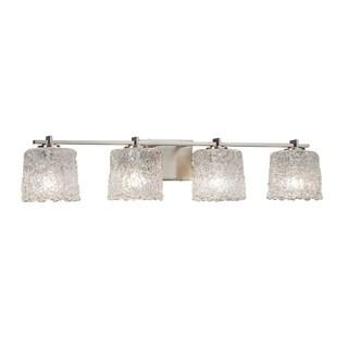 Justice Design Group Veneto Luce Era 4-light Brushed Nickel Bath Bar, Lace Oval Shade