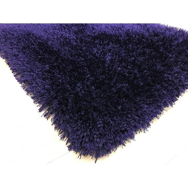 Purpule Shag Area Rug Two Inch Pile Thick with Cotton Backing - 5' x 7'