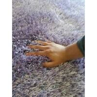 Lavender Shag Area Rug Two Inch Pile Thick with Cotton Backing - 5' x 7'