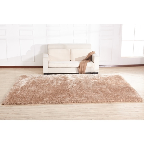 Beige Shag Area Rug Two Inch Pile Thick with Cotton Backing - 5' x 7'