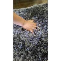 Gray Shag Area Rug Two Inch Pile Thick with Cotton Backing - 5' x 7'
