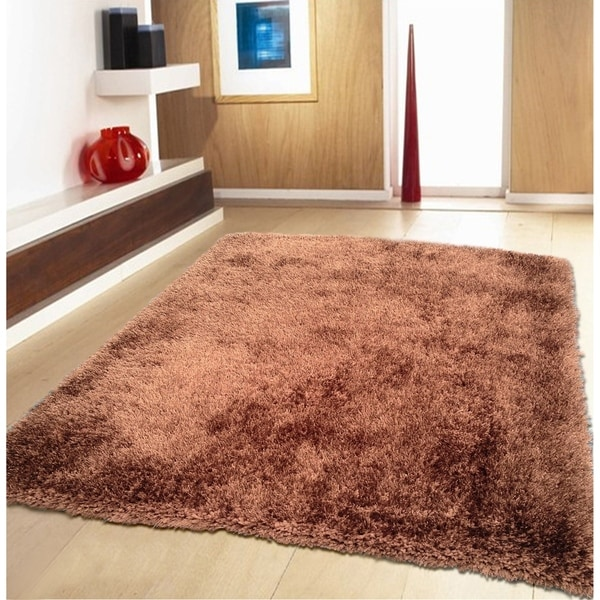 Brown Shag Area Rug Two Inch Pile Thick with Cotton Backing - 5' x 7'