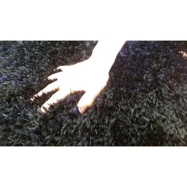 Black Shag Area Rug Two Inch Pile Thick with Cotton Backing - 5' x 7'