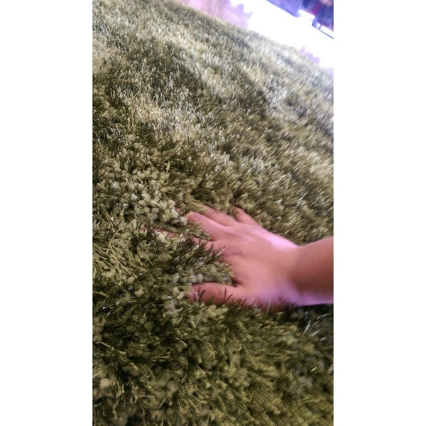 Green Shag Area Rug Two Inch Pile Thick with Cotton Backing - 5' x 7'