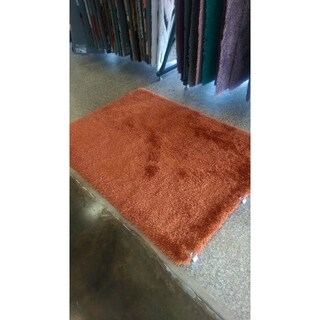 Rust Shag Area Rug Two Inch Pile Thick with Cotton Backing - 5' x 7'