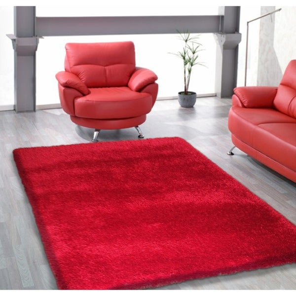 Red Shag Area Rug Two Inch Pile Thick with Cotton Backing - 5' x 7'