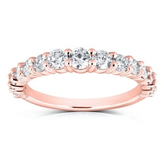 Annello by Kobelli 14k Rose Gold 3/4 Carat TDW Graduated Diamonds Wedding Band