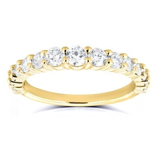 Annello by Kobelli 14k Yellow Gold 3/4 Carat TDW Graduated Diamonds Wedding Band