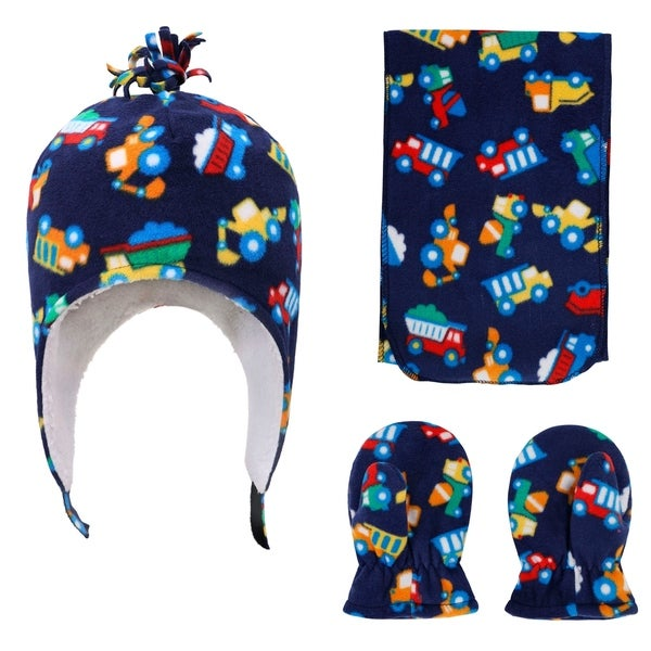 SimpliKids Kids and Toddlers' Sherpa Lined Embroidered Fleece Hat and Gloves Set