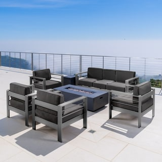 Cape Coral Outdoor Aluminum 7-piece Sofa Chat Set with Cushions & Fire Table by Christopher Knight Home
