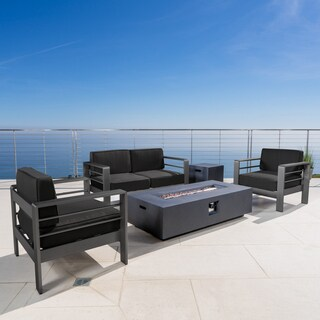 Cape Coral Outdoor Aluminum 5-piece Chat Set with Cushions & Fire Table by Christopher Knight Home