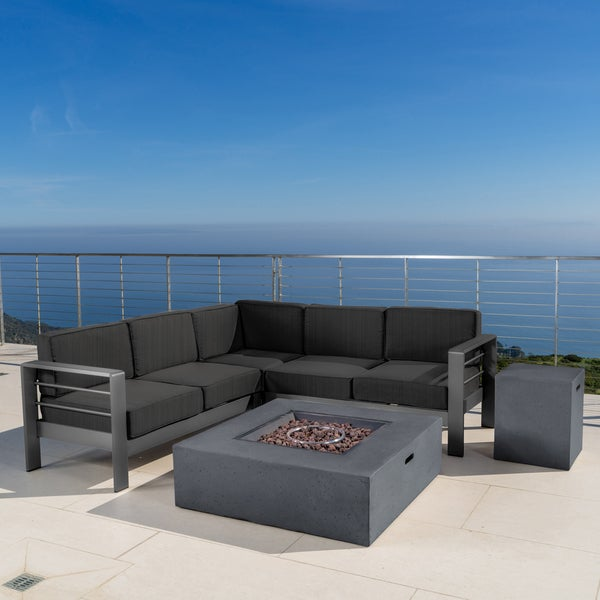Shop Cape Coral Outdoor Aluminum 5 Piece V Shape Sectional