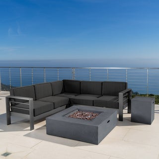Cape Coral Outdoor Aluminum 5-piece V-Shape Sectional Sofa Set with Cushions & Fire Table by Christopher Knight Home|https://ak1.ostkcdn.com/images/products/17632575/P23846945.jpg?_ostk_perf_=percv&impolicy=medium