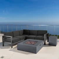 Cape Coral Outdoor Aluminum 5-piece V-Shape Sectional Sofa Set with Cushions & Fire Table by Christopher Knight Home