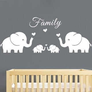 Four Elephants Family Wall Decal (Large 56''x20'', White Wall Vinyl