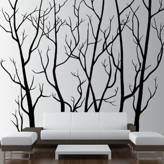 """Tree Forest Decal Removable Sticker with Birds 96"""" (8 Feet) Tall X 113"""" Wide Wall Vinyl"""
