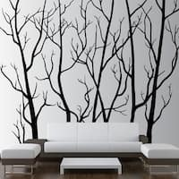 "Tree Forest Decal Removable Sticker with Birds 96"" (8 Feet) Tall X 113"" Wide Wall Vinyl"