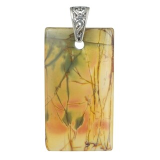 Handmade - Healing Stones for You Red Creek Jasper Large Rectangle Pendant (USA)