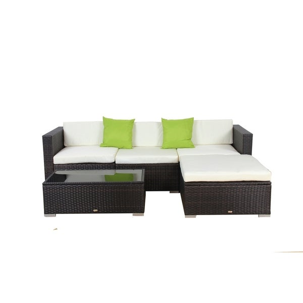 Shop Auro 5 Piece Aluminum And Rattan Modular Sectional Sofa Free