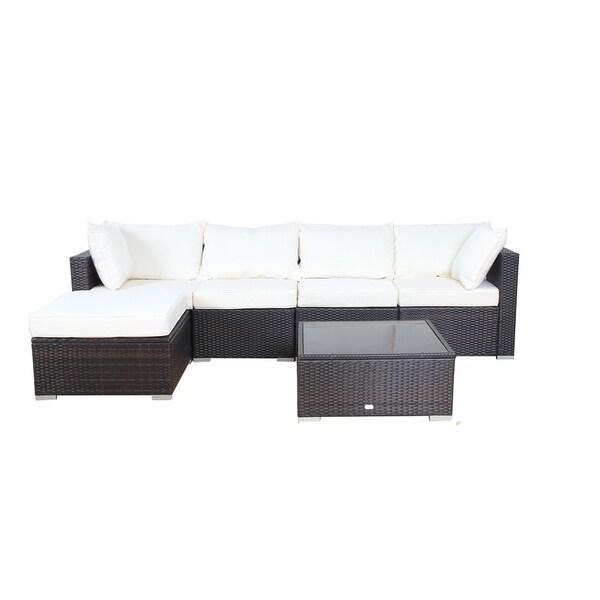 Auro 6 Piece Aluminum And Rattan Modular Sectional Sofa