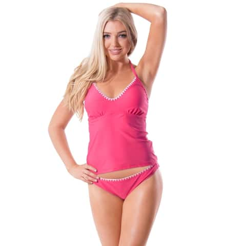 Bawdy Women's Knitted Trim Sport Tankini Swimsuit