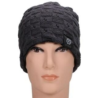Zenco Winter Handcraft Knit Dual-Layered Slouchy Beanie Hat (Option: Khaki)