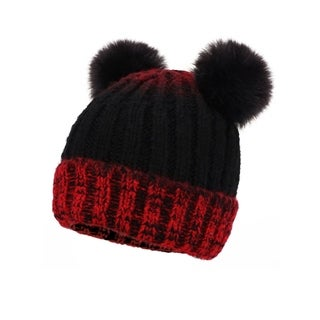 Arctic Paw Children's Cable Knit Ombre Beanie with Faux Fur Pompom Ears