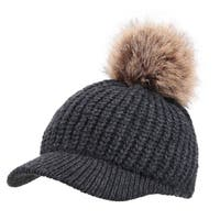 Arctic Paw Cable Knit Beanie with Faux Fur Pompom and Brim Shade