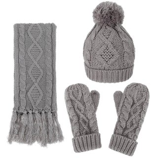 Andorra Women's Cable Knit Winter Hat, Scarf, & Gloves Set