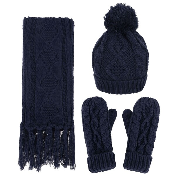 Shop Andorra Women's Cable Knit Winter Hat, Scarf, & Gloves