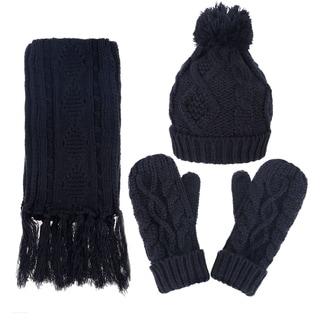 Andorra Women's Cable Knit Winter Hat, Scarf, & Gloves Set (Option: Beige)