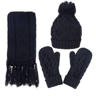 Andorra Women's Cable Knit Winter Hat, Scarf, & Gloves Set|https://ak1.ostkcdn.com/images/products/17638923/P23852352.jpg?impolicy=medium