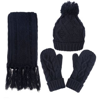 Andorra Women's Cable Knit Winter Hat, Scarf, & Gloves Set (Option: Grey)