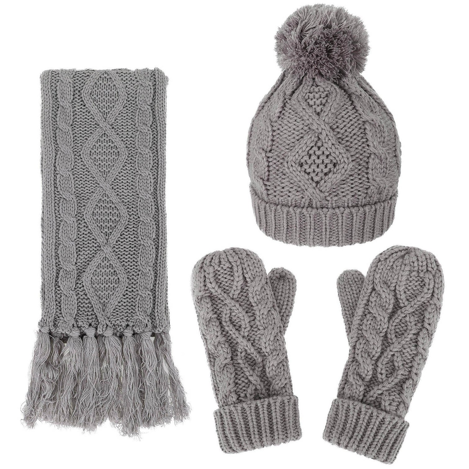 Twice Andorra Women's Cable Knit Winter Hat, Scarf, & Glo...
