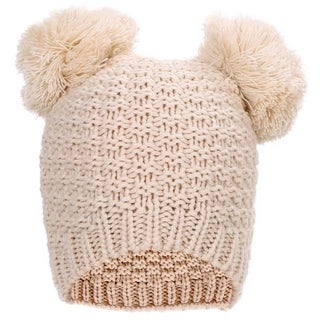 Simplicity Women's Cute Knit Fuzzy Pompom Winter Beanie Hat (Option: Beige)