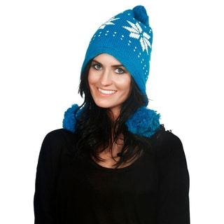 Simplicity Women's Winter Knit Pompom Beanie with Ear Flaps