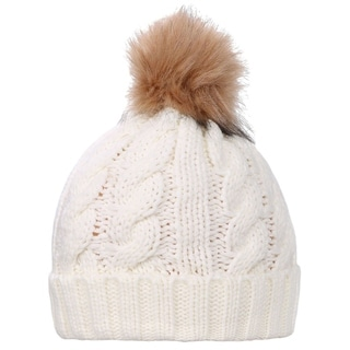 Link to Simplicity Winter Hand Knit Beanie Hat with Faux Fur Pompoms Similar Items in Hats