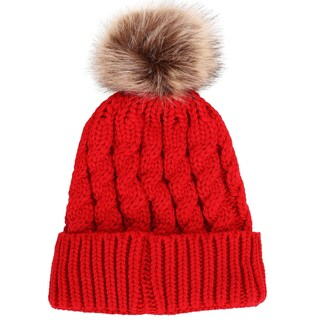 Simplicity Winter Hand Knit Beanie Hat with Faux Fur Pompoms