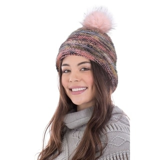 Link to Arctic Paw Heathered Multicolor Knit Beanie with Faux Fur Pompom Similar Items in Hats