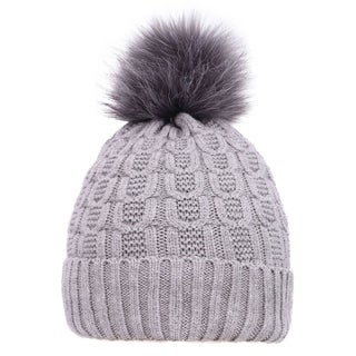 Arctic Paw Sherpa Lined Knit Beanie with Faux Fur Pompom