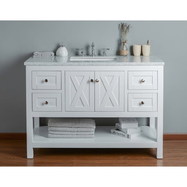 Stufurhome Anabelle 48 Inches White Single Sink Bathroom Vanity