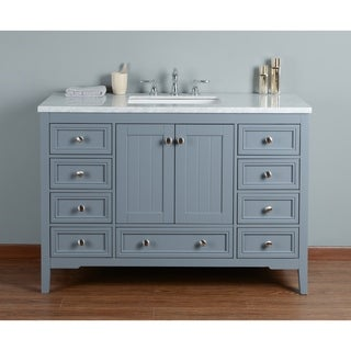stufurhome new yorker grey oak 48inch singlesink bathroom vanity with white marble