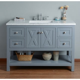 Stufurhome Anabelle Grey Oak 48-inch Single-sink Bathroom Vanity with White Marble Top